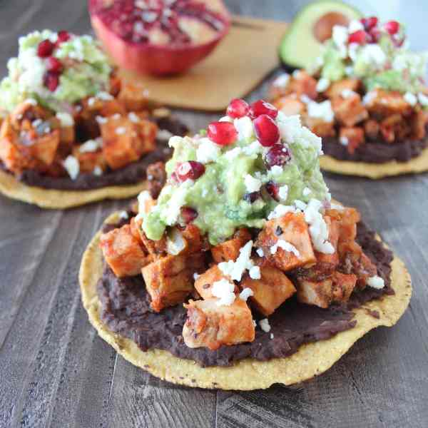 Turkey Tostada with Pomegranate Guacamole