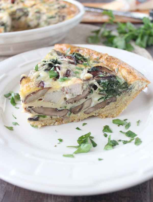 Mushroom Turkey Quiche with Stuffing Crust