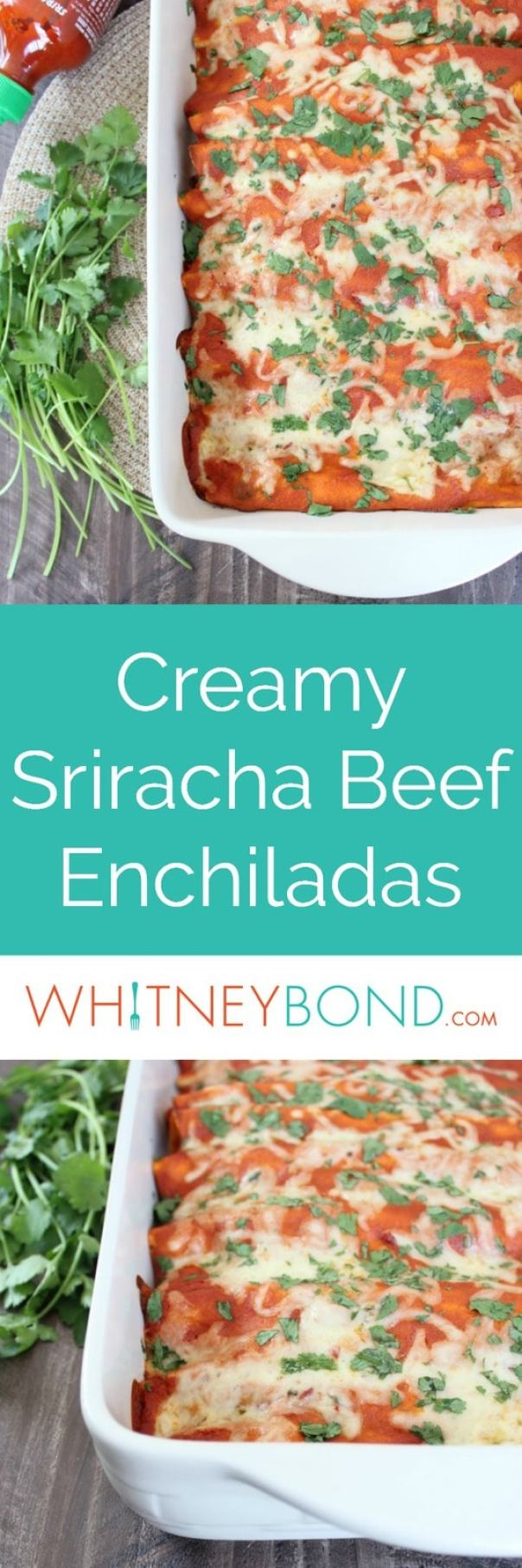 This enchilada recipe combines spicy ground beef with creamy sriracha sauce & lots of cheese for a delicious recipe that's quick and easy to make!