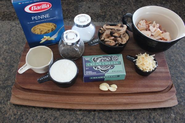 Mushroom Bacon Cheesy Pasta Recipe Ingredients