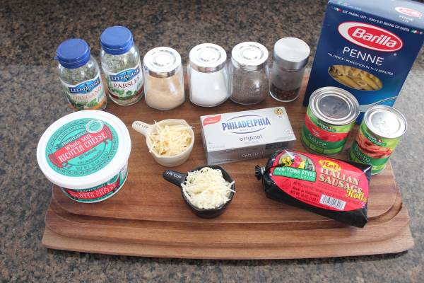 Italian Sausage Penne & Four Cheese Tomato Sauce Ingredients