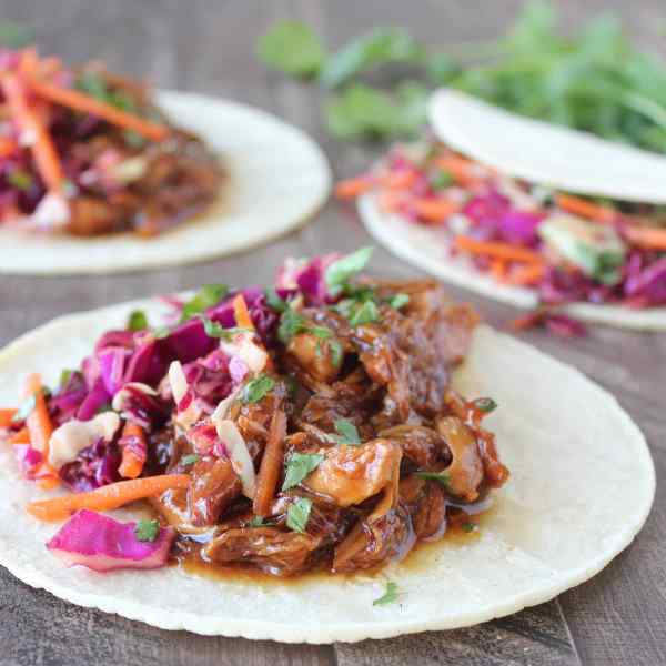 Slow Cooked Korean BBQ Chicken Tacos