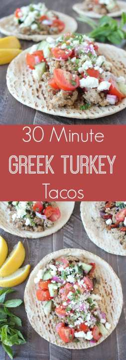 This delicious Greek Taco Recipe is made in only 29 minutes and combines Greek Spiced Ground Turkey with Cucumber Tomato Salsa and Feta Cheese in warm Pita Bread!