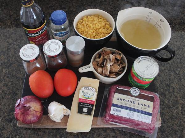 Mediterranean Lamb and Mushroom Pasta Ingredients