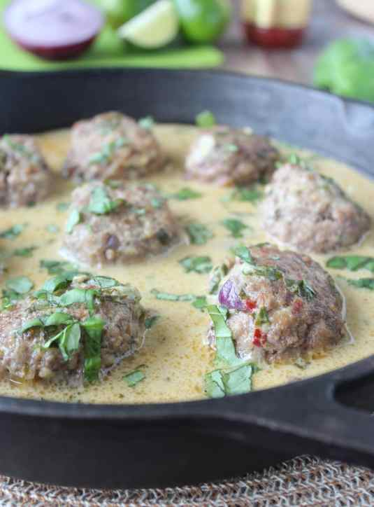 Asian Lamb Meatballs in Green Thai Curry Sauce