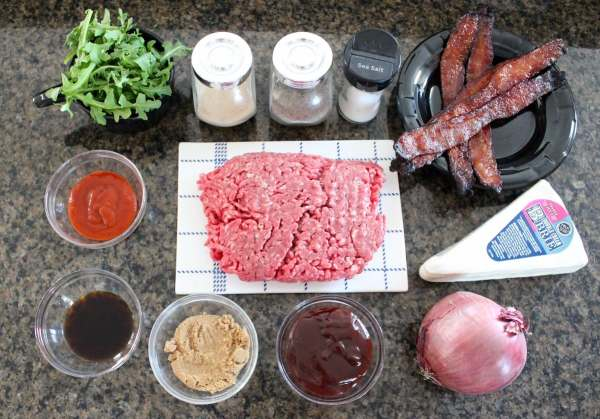 Sriracha Candied Bacon Brie Cheeseburger Ingredients