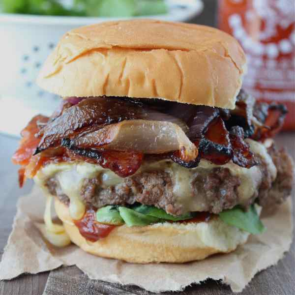 Sriracha Candied Bacon Brie Cheeseburgers