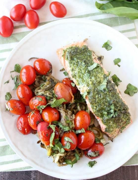 Pesto Baked Salmon with Cherry Tomatoes