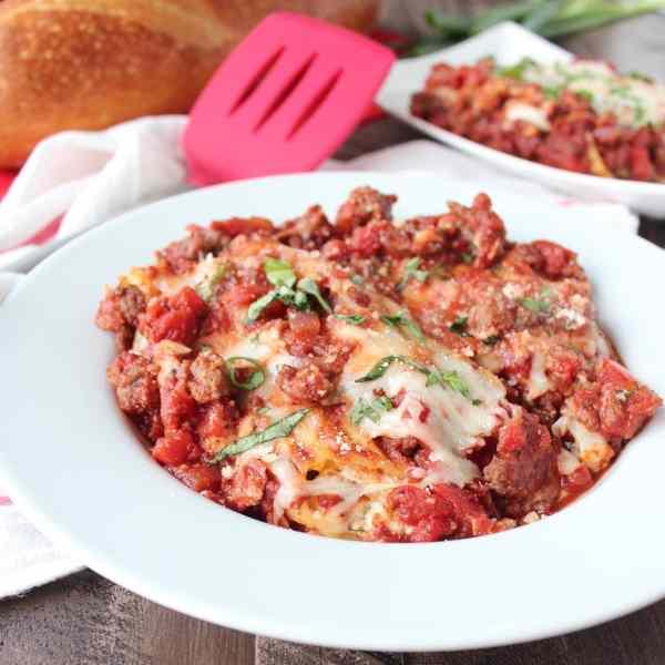 Baked Manicotti with Italian Sausage Marinara