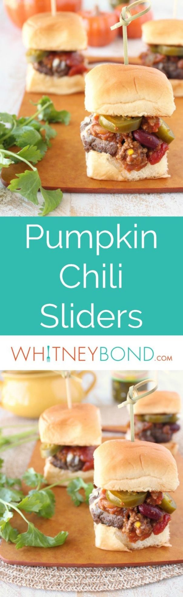 Small pumpkin spiced burger patties are topped with pumpkin chili and served on Hawaiian rolls in this delicious fall recipe twist on chili sliders.