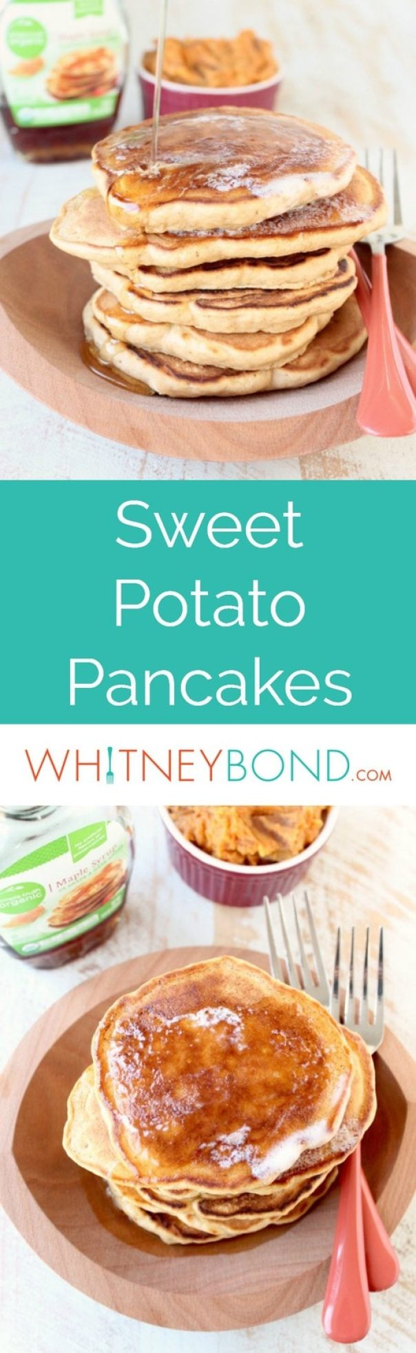 This scrumptious breakfast recipe for Sweet Potato Pancakes makes great use of leftover mashed sweet potatoes after Thanksgiving or Christmas.