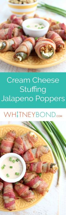 Bacon Wrapped Stuffing Cream Cheese Jalapeno Poppers are the perfect appetizer for holiday or Superbowl parties & a great way to use up leftover stuffing!