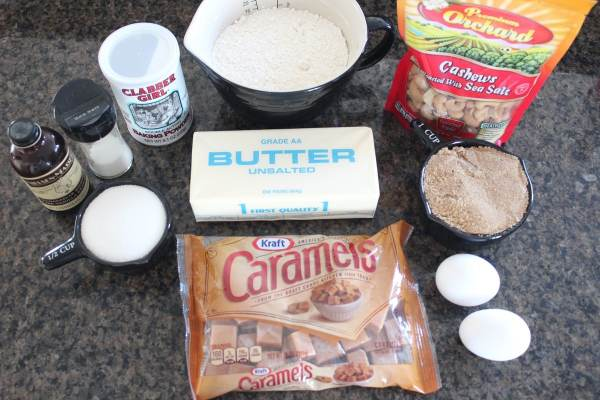 Salted Caramel Cashew Cookie Ingredients