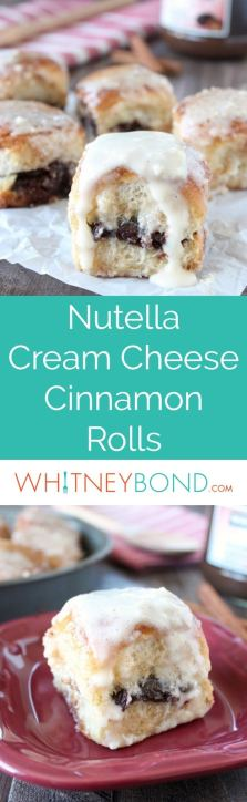 This Nutella Cream Cheese Cinnamon Roll Recipe is so easy to make & so scrumptious, perfect for weekday breakfasts or weekend brunch!