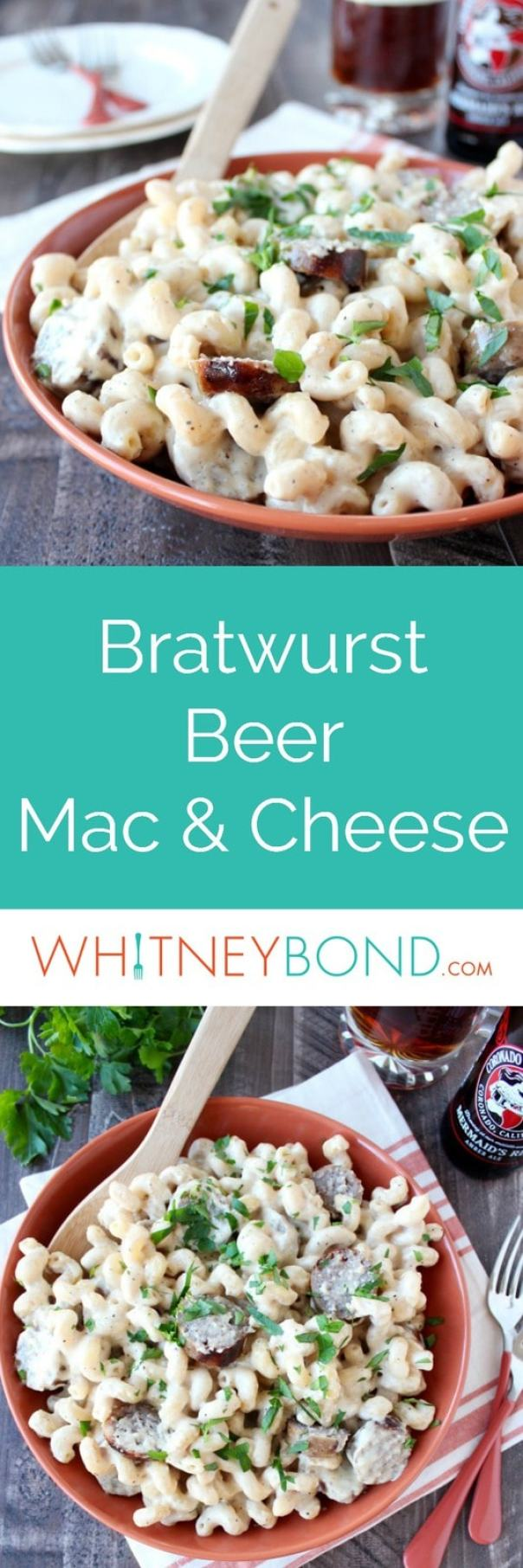 This Mac and Cheese Recipe is kicked up a notch with the addition of grilled bratwurst and amber beer, putting a fun and flavorful twist on mac and cheese!