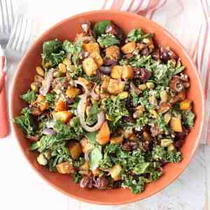 Roasted Butternut Squash Spinach Kale Salad