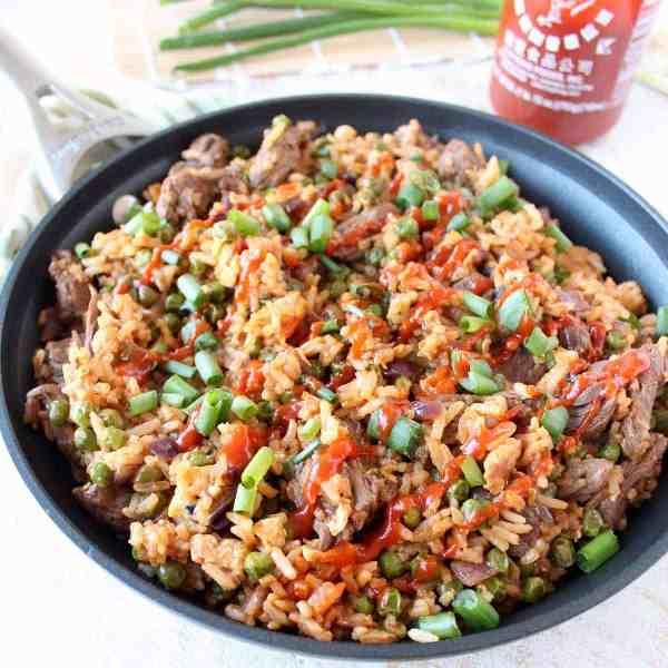 Sriracha Steak Fried Rice Recipe - WhitneyBond.com
