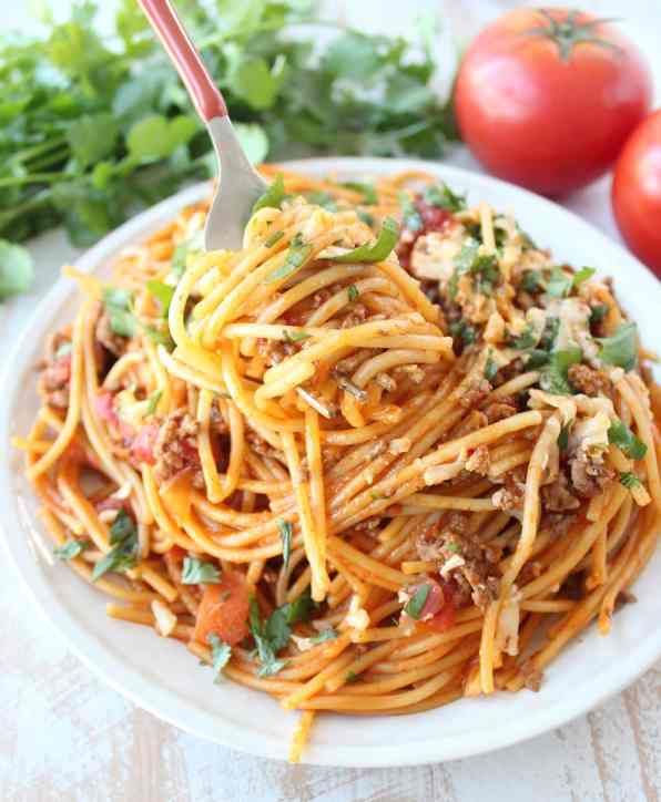 One Pot Buffalo Taco Spaghetti Recipe