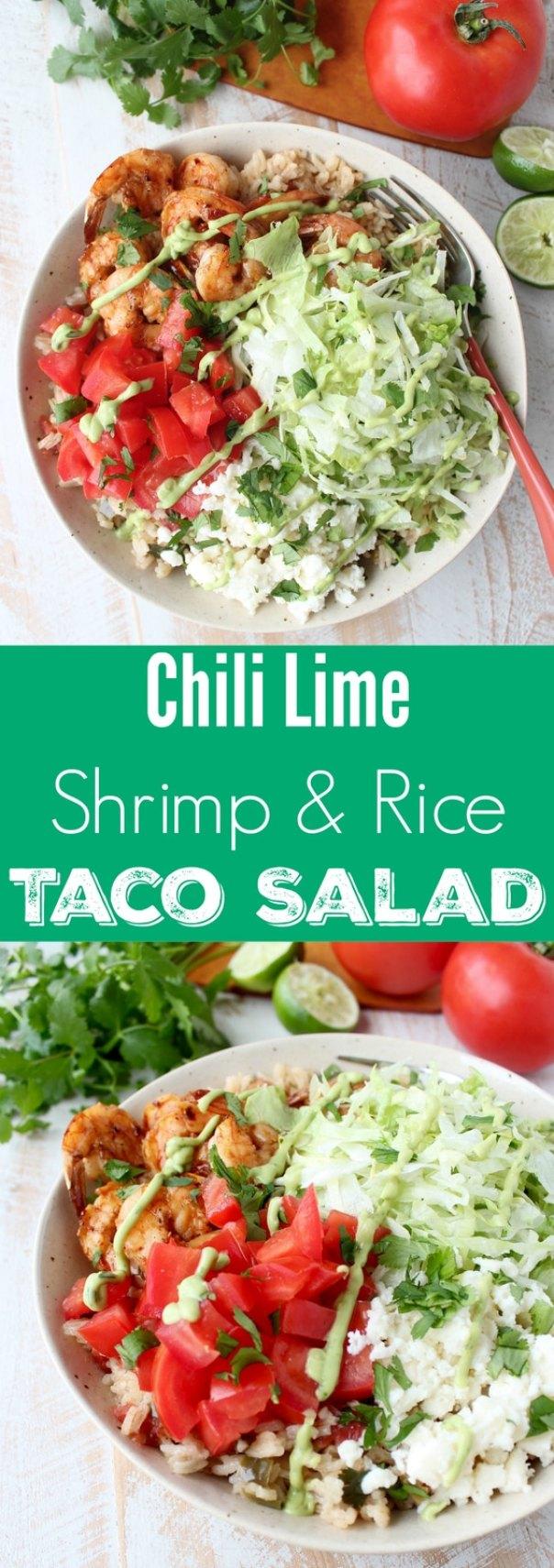 Chili Lime Shrimp & Rice Taco Salad Recipe