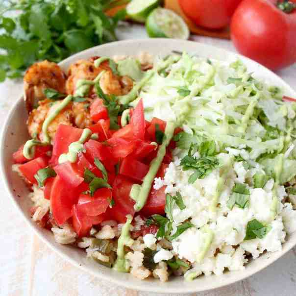 Chili Lime Rice & Shrimp Taco Salad Recipe