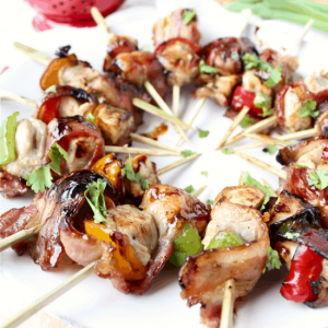 Bacon Wrapped Teriyaki Chicken Skewers
