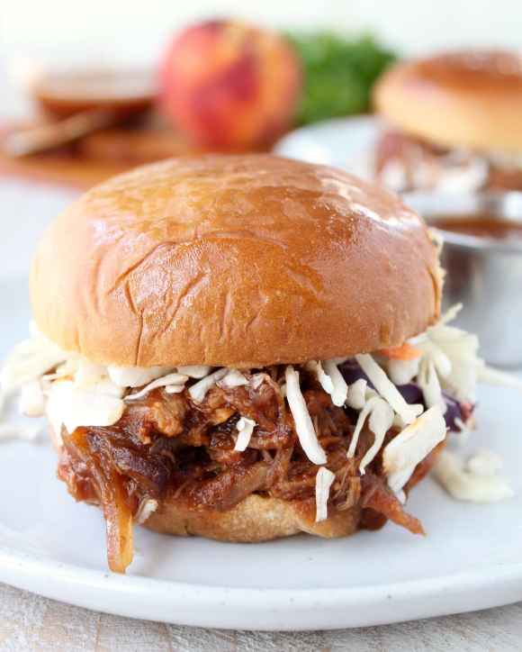 Slow Cooked Peach BBQ Pulled Pork Sandwich