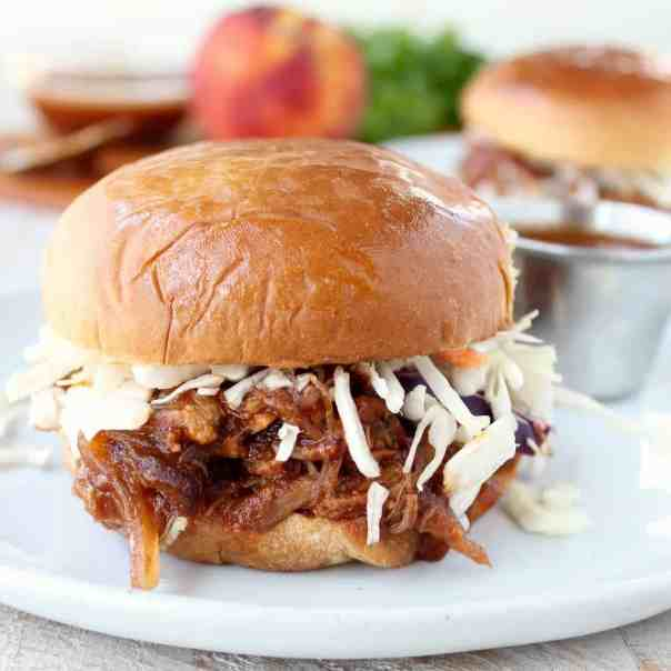 Slow Cooker Peach BBQ Pulled Pork Sandwich