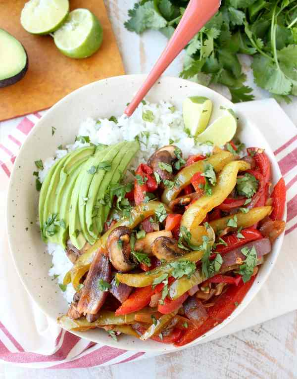 Vegan Fajita Rice Bowl Recipe