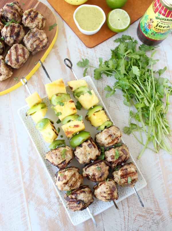 Jerk Chicken & Pork Meatball Skewers