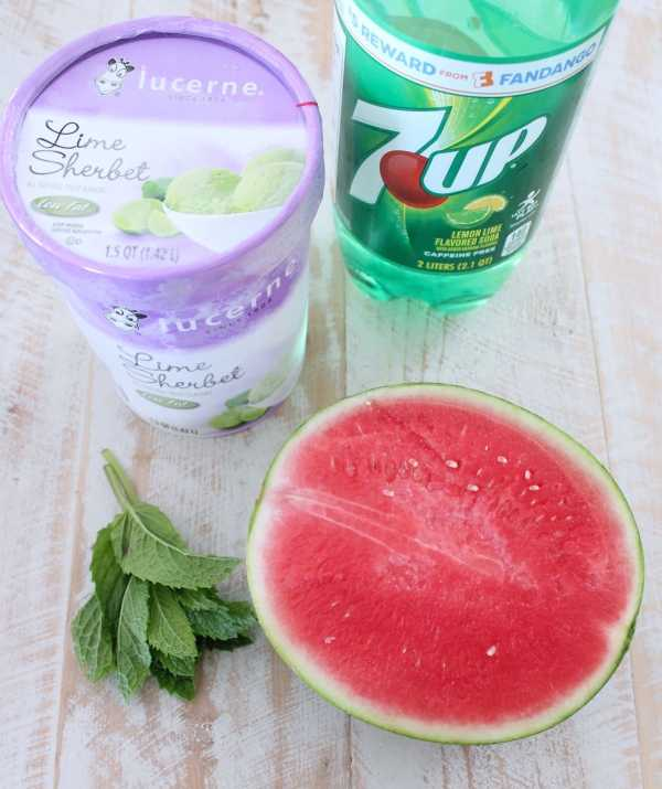 Watermelon Lime Sherbet Float Ingredients