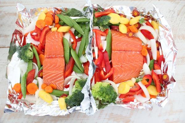 Chinese Orange Glazed Salmon & Veggie Foil Basket Recipe