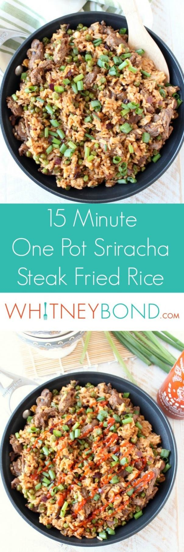 15 Minute One-Pot Sriracha Steak Fried Rice Recipe
