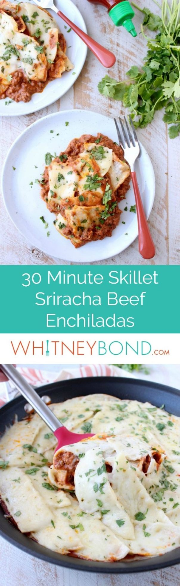 This deconstructed recipe for Beef Enchiladas with creamy Sriracha sauce is made in one skillet in only 30 minutes, perfect for busy weeknight dinners!
