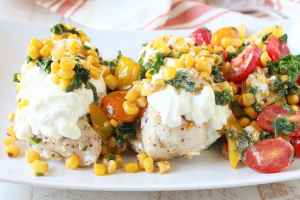 Cheesy Chicken with Kale Corn Succotash Recipe