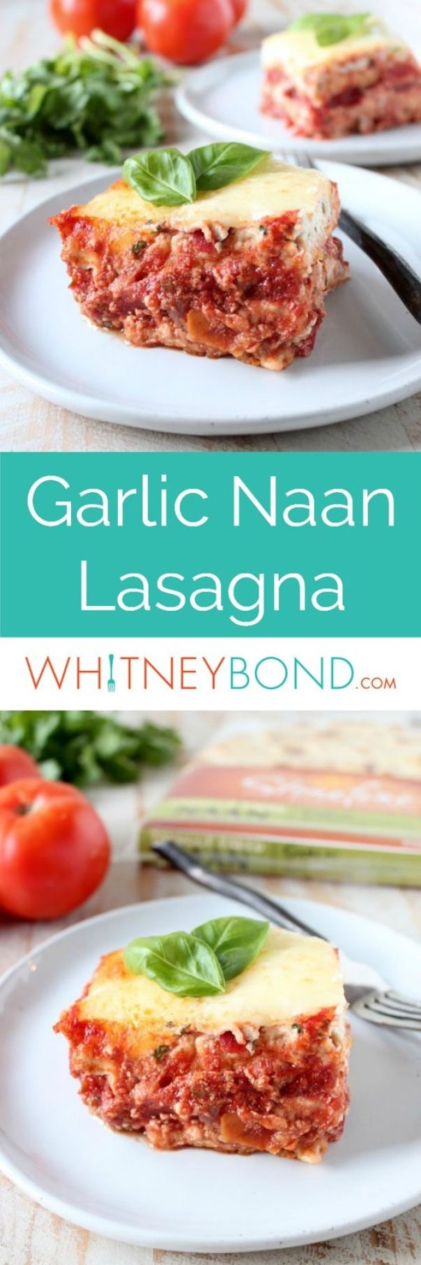 Layers of cheese, Italian sausage marinara and garlic naan make for a delicious twist on traditional lasagna, which I like to call la-naan-a!