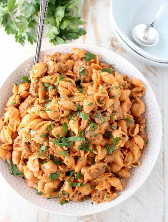 One Pot Italian Sausage Shells and Cheese Recipe