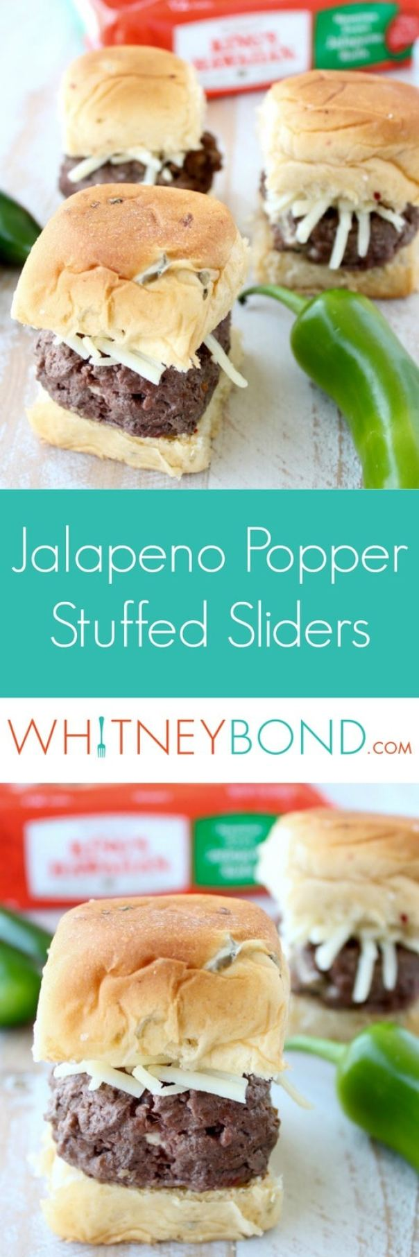 Roasted jalapenos, cream cheese & crispy bacon are stuffed into these delicious grilled hamburger stuffed sliders, perfect for Summer BBQ's & parties!