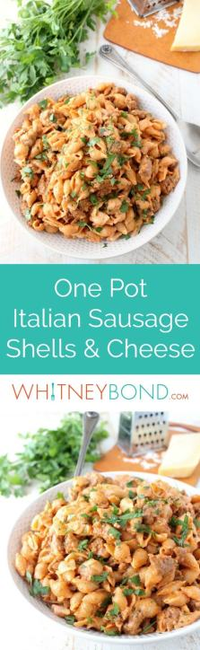 In one pot and under 45 minutes, prepare this Italian style Shells and Cheese recipe, filled with flavorful sausage, tomato sauce, and three cheeses!