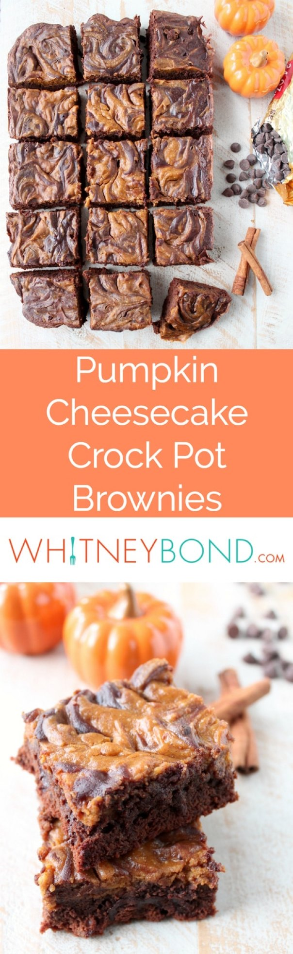 Pumpkin Cheesecake Crock Pot Brownies