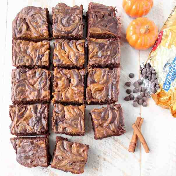 Pumpkin Cheesecake Swirled Crock Pot Brownies