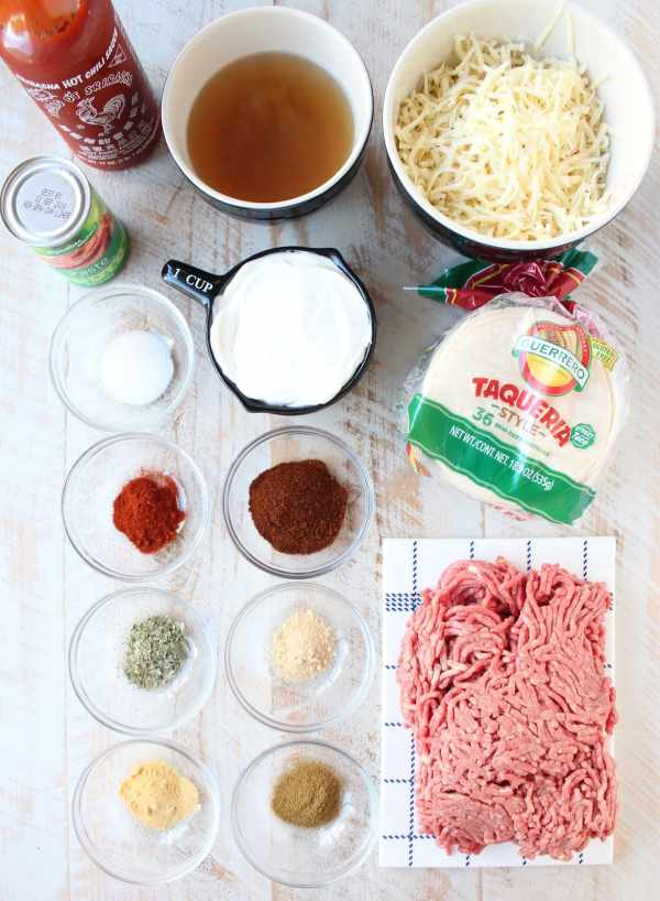 Skillet Sriracha Beef Enchiladas Ingredients