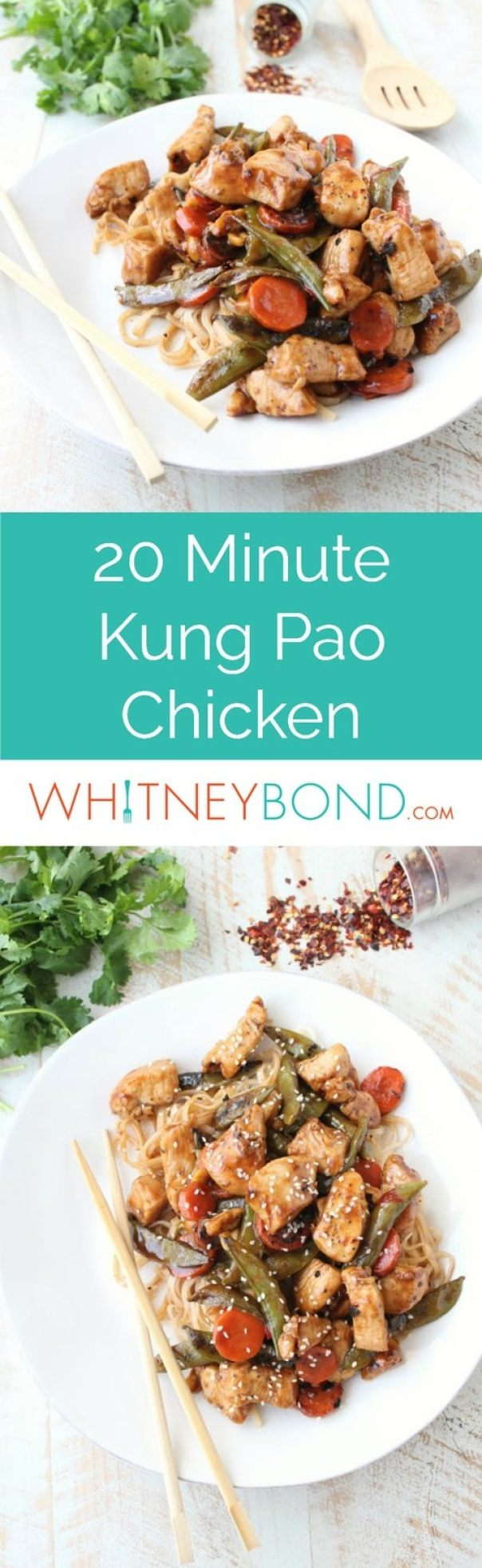 In one skillet and 20 minutes, whip up this deliciously spicy Kung Pao Chicken recipe that's so easy to make and gluten free!