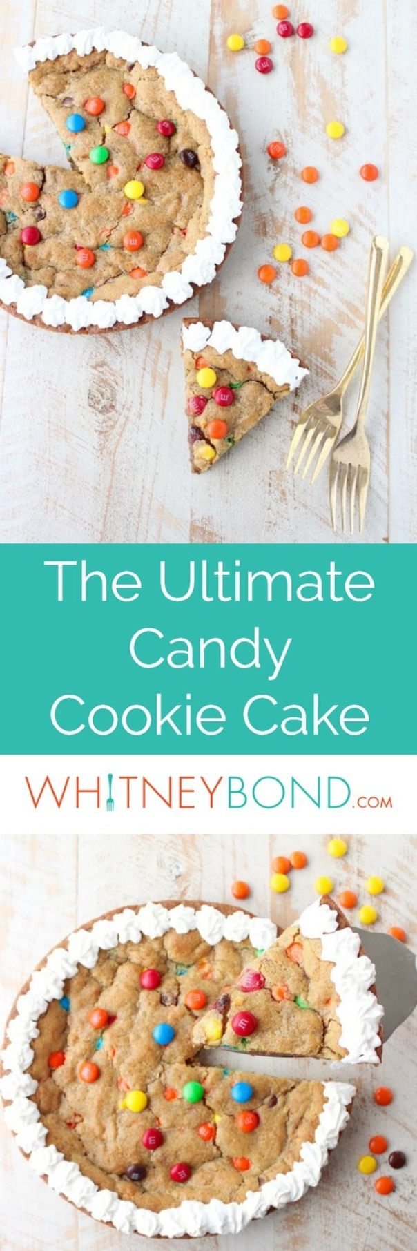 The Ultimate Candy Cookie Cake recipe is perfect for Halloween, birthdays or holidays, add your favorite candy to cookie dough & bake into a tasty cake!