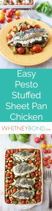 Sheet pan chicken is an easy, gluten free, one pan dish that takes under an hour to make. This recipe is stuffed with pesto and cheese, and served with zucchini and tomatoes!