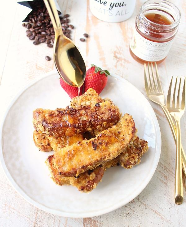 Macadamia Nut Crispy French Toast Sticks are a fun & delicious breakfast recipe, that's also so easy to make!