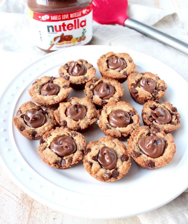 Chocolate Chip Cookie Cups with Nutella Hazelnut Spread