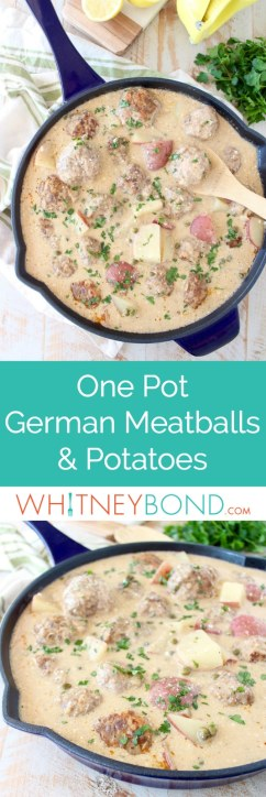 In one pot, create a delicious meal of German meatballs and potatoes in a creamy white caper sauce, incredibly flavorful and an easy dinner recipe!
