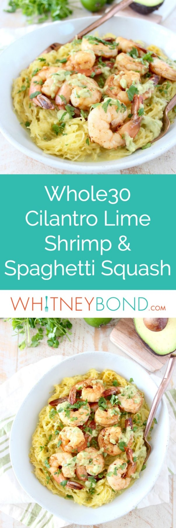This delicious Whole30 recipe combines roasted spaghetti squash and green chili avocado sauce with cilantro lime shrimp for a healthy, gluten free and dairy free meal!