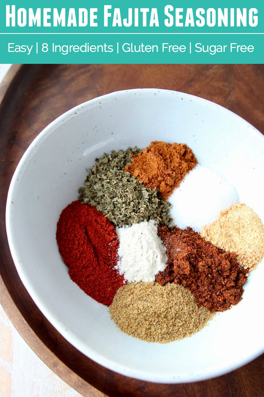 Homemade fajita seasoning is easy to make with this simple 8 ingredient gluten free and whole 30 recipe. It's perfect for steak, vegetables, ...