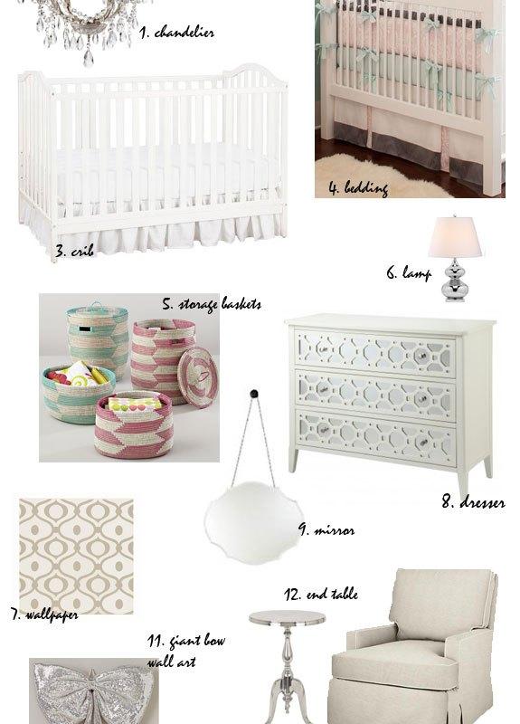 modern glamour baby nursery moodboard